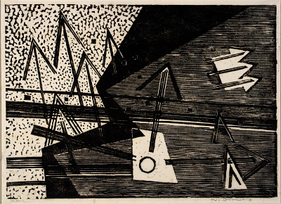 Composition III - Arrows into Different Directions, from the portfolio It Can't Happen Here: 10 Blockprints by Drewes