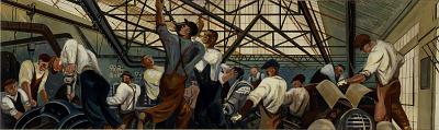 Automobile Industry (mural study, Detroit, Michigan Post Office)