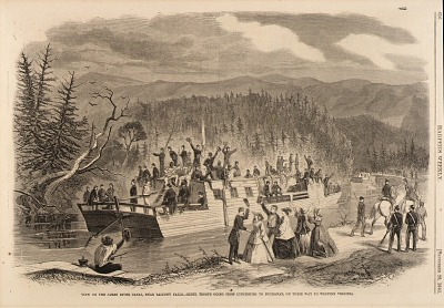 View on the James River Canal, near Balcony Falls. -Rebel Troops Going from Lynchburg to Buchanan, on Their Way to Western Virginia, from Harper's Weekly, September 28, 1861