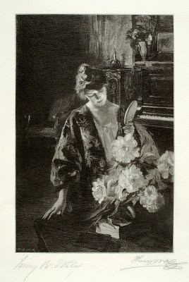 Girl and Peonies (The Hand Mirror)