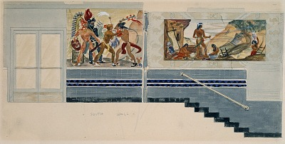 (Mural study for south wall, Los Angeles, California Immigration and Naturalization Station)