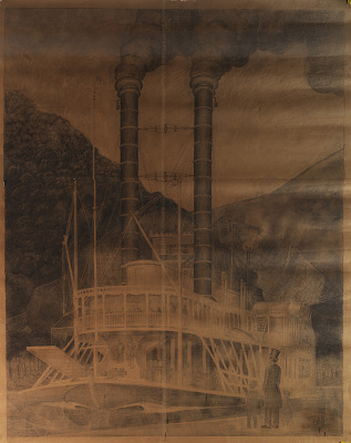 Early Mississippi Packet, Dubuque III (mural study, Dubuque, Iowa Post Office)
