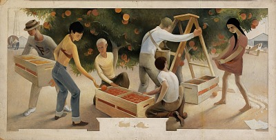 Orange Picking (mural study for Fullerton, California Post Office)