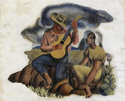Music of the Plains (mural study, Kilgore, Texas Post Office)