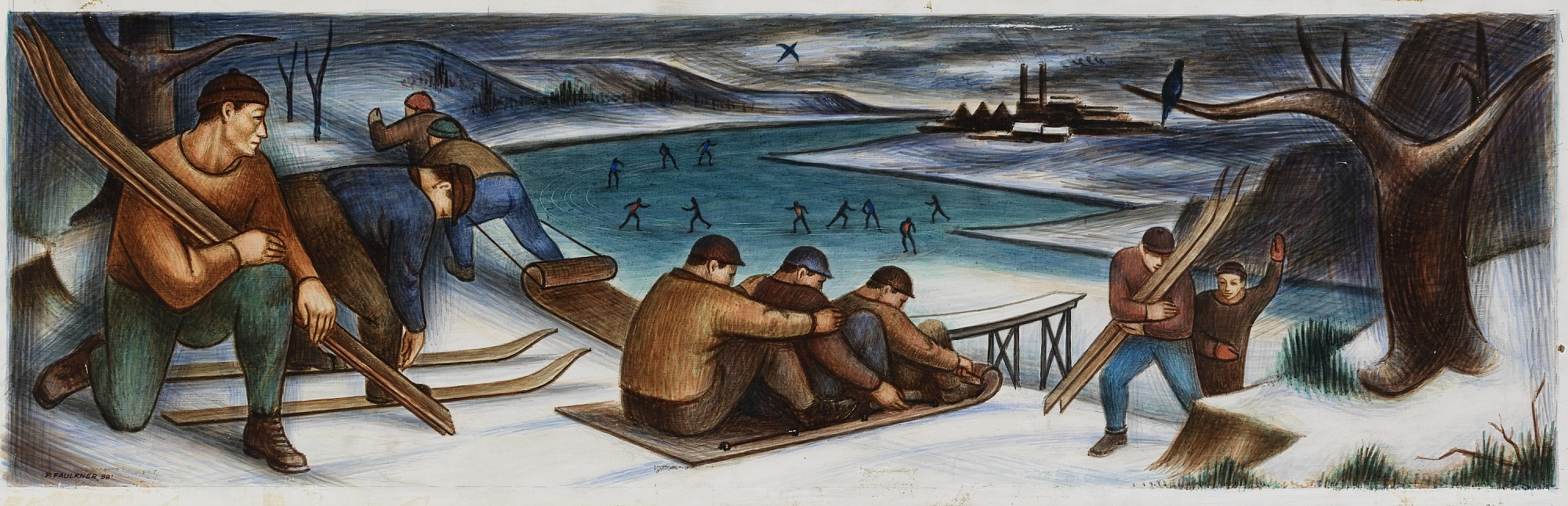 images for Winter Sports (mural study, Kewaunee, Wisconsin Post Office)