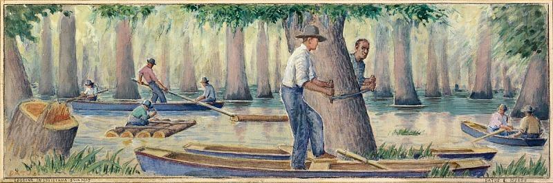 Image for Logging in Louisiana Swamps (mural study, Winnsboro, Louisiana Post Office)