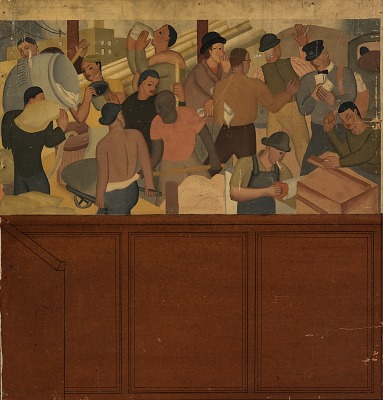 Shipping and Construction (mural study, Huntington Park, California Post Office)