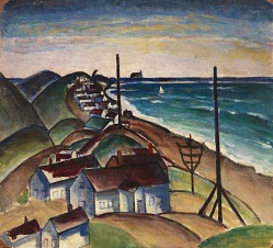 Untitled (Seascape with Houses on Beach)