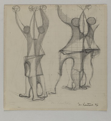(Untitled--4 Abstracted Figures, Arms Raised)