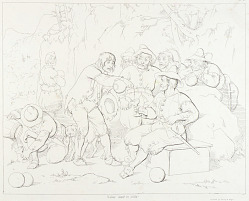 (Rip Van Winkle, illustration) Rip Serving Liquor to the Strange Men in the Mountains