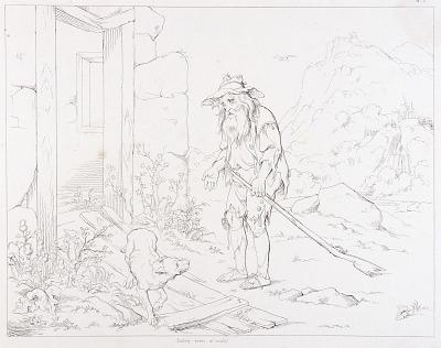 (Rip Van Winkle, illustration) Rip Returns to His House in Ruins