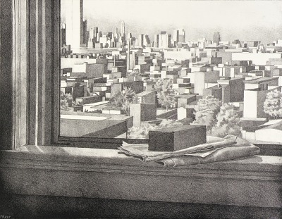 Still Life with View of Hoboken and Manhattan