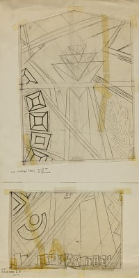 Loop-Central Panel II, C, study for Stained Glass Window, Chicago Loop Synagogue