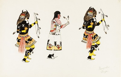 Buffalo Dance-Two Males, One Female Facing Right
