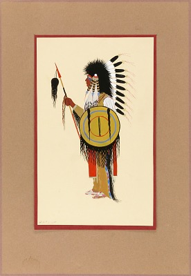 Cheyenne Warrior in Feather Headdress with Shield