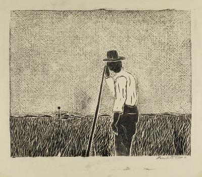 Farmer Leaning on Staff in Field