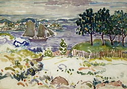Inlet with Sailboat, Maine