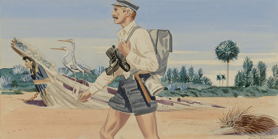 Panel 2, Legend of James Edward Hamilton--Barefoot Mailman (mural study, West Palm Beach, Florida Post Office)