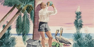 Panel 6, Legend of James Edward Hamilton--Barefoot Mailman (mural study, West Palm Beach, Florida Post Office)