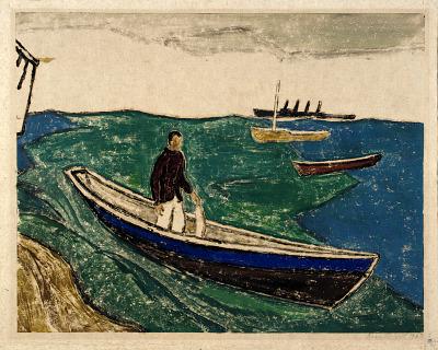 Boy with Fish, Blue Sea