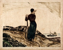 Woman Waving, Leaning on Hoe