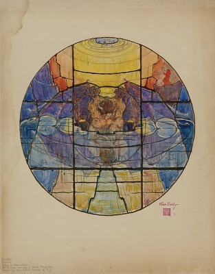 Dante Window (study for Inferno, Medallion 4, Canto 34: Lucifer in the Center of the Earth)