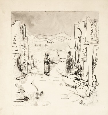 Untitled (War Scene, Soldier with Machine Gun and Enemy Soldier)