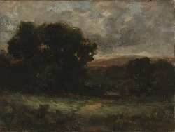 Untitled (landscape with meadow and trees)