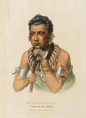 YOUNG MA-HAS-KAH. CHIEF OF THE IOWAYS., from History of the Indian Tribes of North America