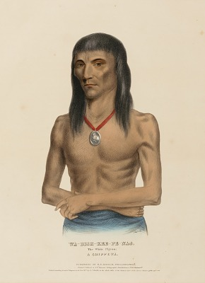 WA-BISH-KEE-PE-NAS. The White Pigeon. A CHIPPEWA, from History of the Indian Tribes of North America