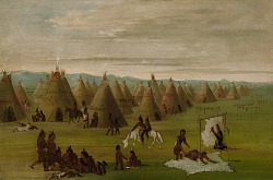 Comanche Village, Women Dressing Robes and Drying Meat