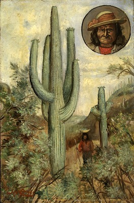 Cactus Landscape with Portrait of Geronimo