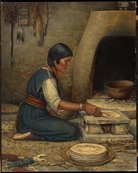 Hopi Woman Making Piki