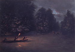 Deer Hunting by Torchlight in Bark Canoes