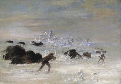 Assiniboine Indians Pursuing Buffalo on Snowshoes
