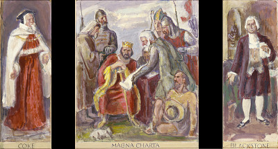 Coke, Magna Charta, Blackstone {sic}, sketch for mural for the United States Department of Justice