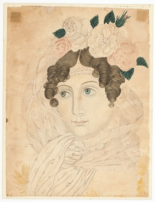 Woman with Roses in Hair
