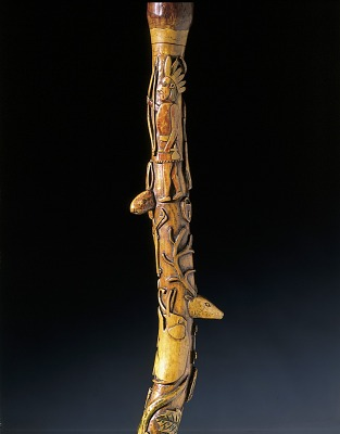 Cane with Indian, Entwined Man and Snake and Diverse Animals