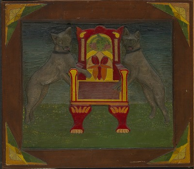 Emblematic Panel with Two dogs and Throne