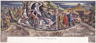 The Legend of Bubbling Springs (mural study, Manitou Springs, Colorado Post Office)