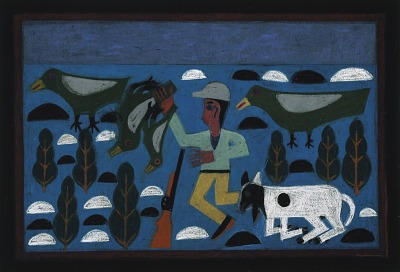 Hunter with Dog and Four Birds