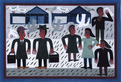 Six Figures with Pigeons and Buildings