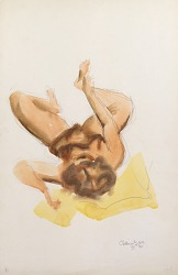 Untitled (reclining nude grasping ankle)