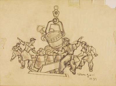 Puddlers (sketch for post office sculpture, Irwin, Pennsylvania)