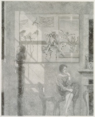 INTERIORS II: STOLEN MOMENTS (drawing for etching)