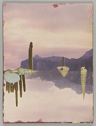 "Untitled (landscape with dry mountains and cacti with ""mirror image"")"