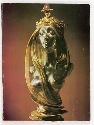 Untitled (silver and gold female bust with semi-precious stone by Mucha)