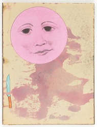 Untitled (man-in-the-moon face stained pink, mounted on masonite)