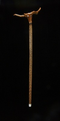 Cane with Rattlesnake and Cow-Head Handle