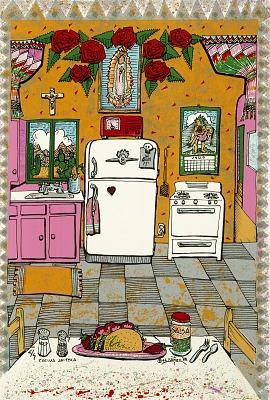 Cocina Jaiteca, from the National Chicano Screenprint Taller, 1988-1989